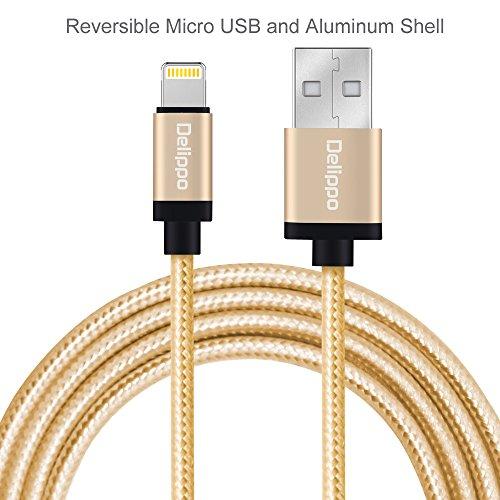 Preisvergleich Produktbild Delippo® 3.3ft/1M Nylon Ummanteltes Iphone 7 Kabel Datenkabel mit Blitz-Anschluss [Apple MFi Zertifiziert] für iPhone 6/6 Plus, iPad Air 2 usw.Golden