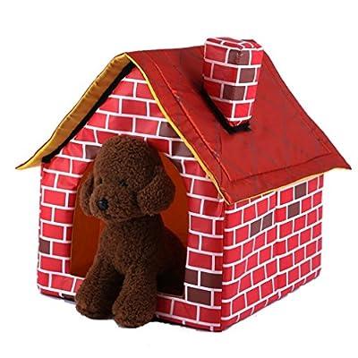 Gugutogo Casa portátil del animal doméstico del ladrillo con la chimenea Tienda acogedora y acogedora del animal doméstico de la cama del gato del perro (Color rojo)