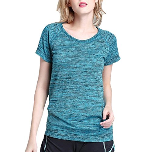 hibote femmes sportives séchage rapide T-shirt teint satin Slim Mode col rond cyclisme vêtements Bleu
