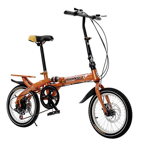 LHLCG Vélo Pliant - Vélo de Ville Pliable de 16 Pouces pour Filles et garçons, Conception à dégagement Rapide, Absorbant Les Chocs, sans Glissement,Orange
