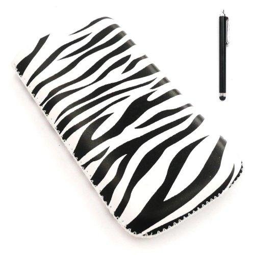 Apple Iphone 3g-zebra (Emartbuy® Stylus Pack für Apple iPhone 3G / 3GS - Schwarz Stylus + LCD displayschutz + Zebra Schwarz/Weiß Premium-PU-Leder-Tasche/Case / Sleeve/Halter (groß) mit Pull Tab Mechanismus)