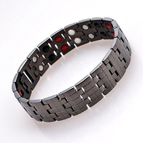 Drkao Titan Magnettherapie Armband für Arthritis Karpaltunnel Schmerzlinderung Magnetisches Herren-Armband mit Geschenkbox Herren Damen Armband für Männer in Schwarz Farbe