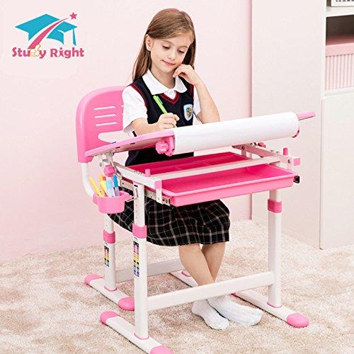 Kinder Schreibtisch und Stuhl, Kinder Zeichentisch, Höhenverstellbar, ergonomisches Design,passend für die 3 Jhare + und junge Teens (10 m Zeichenpapier ist enthalten)