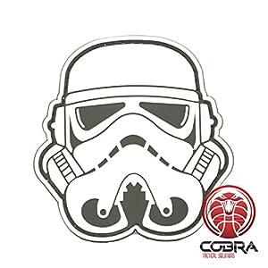 Cobra Tactical Solutions 3D PVC Star Wars Head Stormtrooper Patch Blanc avec sa lanière Hook & Loop pour Airsoft/Paintball …