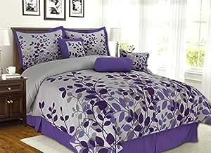 Purple / Grey / Lavender Comforter Set Fresca Vine Flocking Bed In A Bag California King Size Bedding by Grand Linen