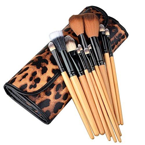 12pcs Pinceaux Brosses Applicateurs Cosmétiques Maquillage Professionnel Make Up Brushes avec Trousse Etui de transport Pour Fond De Teint Poudre Visage Beauté Femme, Léopard