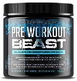 Pre Workout Beast (Blauer Himbeergeschmack) - 40 Portionen (300g) - Hardcore Pre Workout Booster mit Kreatin Monohydrat, Koffein, Beta Alanin und Glutamin