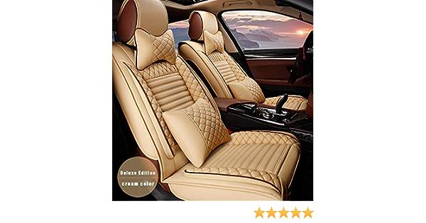 Allyard Auto Sitzbezüge Für Outlander Eclipse Cross Asx 5 Sitze Autositzbezug Auto Sitzbezüge Pu Leder Sitzauflage Autositz Schonbezüge Set Innen Zubehör Luxury Beige Und Gelb Auto