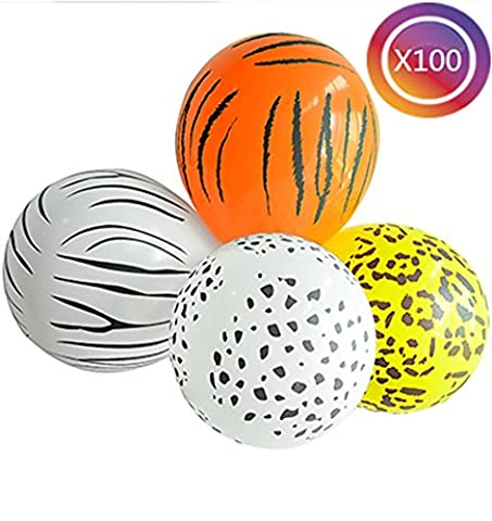 Tankerstreet Balloons Party Animals, Balloons Pink Leopard Print Zebra Tiger Cheetah Print Latex Balloons Party Bag Fillers, Coloured Party Balloons Kids Assorted Safari Zoo-theme Birthday Party Favours Jungle Theme Baby Shower Decoration 100pcs