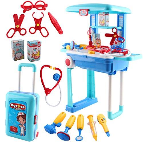 deAO Centro Médico y Enfermería Set de Doctor Plegable en Maleta Convertible Maletín de Juegos con Accesorios
