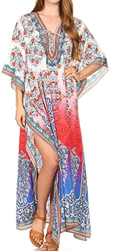 Sakkas 17210 - LongKaftan Georgettina Ligthweight Impreso Long Caftan Dress / Cover Up - 17210-WhiteMulti -OS