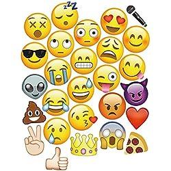 27piezas emoji caras photo booth props para boda fiesta de cumpleaños eventos por Trimming Shop
