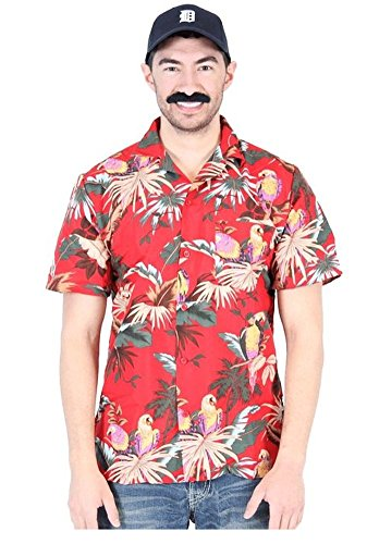 Herren Gonzo Kostüm - Magnum PI P.I. rot Hawaiian Aloha Jungle Bird Cotton Button-Down Kostüm Shirt, X-Large
