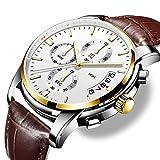 Herren Uhren Quartz Lederband für Uhren, Lässige Uhren, Business & Sport Uhren für Jungen mit 30 Meter Wasserdichtes Design und mit Leuchtende Zeiger, Kalender, Stoppuhr gebaut
