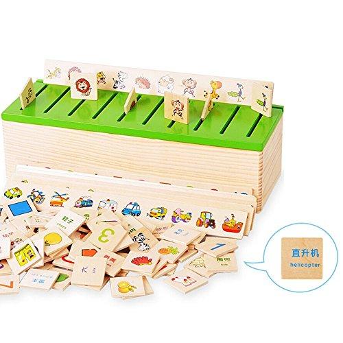 Montessori Puzzle Learning Toys Caja de Clasificación del Conocimiento Juguetes de Madera Número Educativo