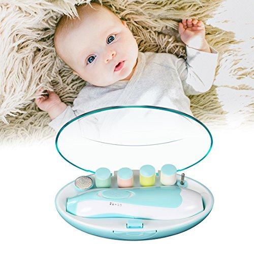 Elektrische Baby Nagelfeile Nagelknipser Set,GLISTENY 6 in 1 Maniküre Pediküre Set Batteriebetrieben Baby Nagelpflege mit LED Licht