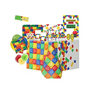 uni-que Kit N 70 Coordinato Compleanno Block Party - Building Blocks Party addobbi 0727040157494 LEGO
