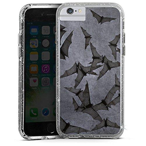 Apple iPhone 7 Bumper Hülle Bumper Case Glitzer Hülle Fledermaus Bat Vampir Bumper Case Glitzer silber