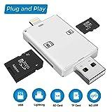 Excuty Micro SD Kartenleser,USB-Kartenleser, 4 in 1 Lightning & USB-Speicherkartenleser Kamera Viewer für TF/SD-Karte für iPhone & PC & Laptop, App für iOS-Geräte benötigt