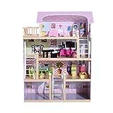 HOMCOM Casa de Muñecas con Muebles Mobiliario Casita Muñeca Jueguetes Madera Color Rosa