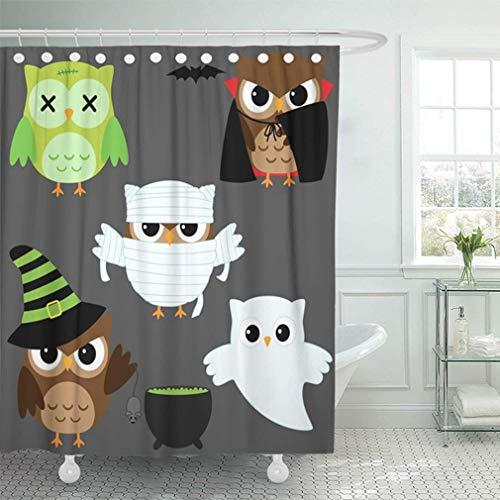 Luancrop Duschvorhang Bad Wasserdicht Zombie of Cute Owls in Halloween Kostüme Mummy Angry Kid Bat Vogel Ghost Silhouette Wohnkultur Polyestergewebe Einstellbare Haken - Cute Owl Kostüm