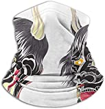 Jxrodekz Cranio Oni Disegnato a Mano Intrecciato da Animali Fauna Selvatica Animale Arti Scaldacollo in Pile Uomo - Antivento Ghetta Maschera per Viso