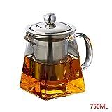 yunt 350ml Klarglas Teekanne mit Edelstahl-Ei, Teekocher Teesieb für losen Tee und Blooming Tee, 750 ml