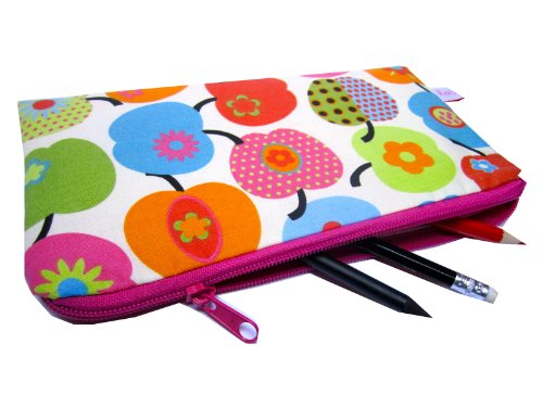 Trousse-plat-Pomme-Rose-pommes-pfelchen-tui--stylos-Trousse-Rentre-Scolaire-pour-cole-Multicolore-einschulung-fabriqu--la-main