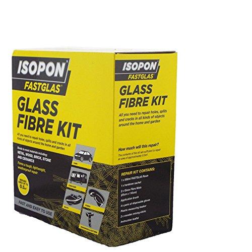 U-Pol - Isopon Fastglas - Grand kit fibre de verre - Contient godet de mélange et gants de protection - Créez, montez, réparez - PRV séchage rapide