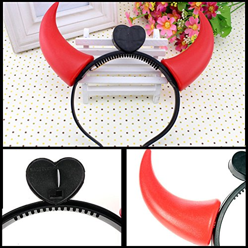 VANTIYA LED Hairbands   12 PCS LED Light Up Flashing Devil Horns Headband - Glowing Red Devil Horns LED Costume Headband Random Color