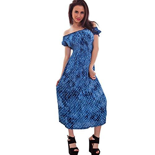 Toocool - Vestito donna abito longuette ginocchio cuori scollo carmen gitana nuovo 311 Blu chiaro
