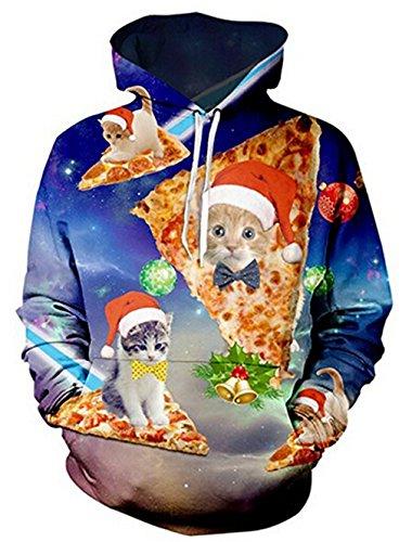 Weihnachten-Hoodie, Chicolife Herren Unisex Jumper lustige 3D gedruckte Tunnelzug Katze grafische Pullover Hoodies Santa Sweatshirts Taschen Xms Kapuzenpullover S-XXL Pizza Cat
