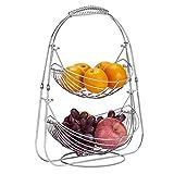 TOROTON Cesto Portafrutta, in Metallo Cromato a 2 Ripiani, Espositore per Frutta Verdura