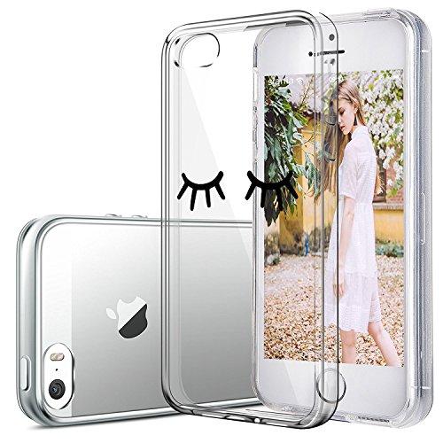 Custodia iPhone SE 5S Cover, JEPER Ultra Thin Slim Flessibile Crystal Clear Trasparente Premium TPU Silicone Gel Assorbimento Urto Anti-Scratch Case per Apple iPhone 5 01