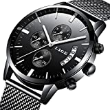 Uhr-Herren LIGE Mode Casual Date Wasserdichte Edelstahl Analoger Quarz Armbanduhr Schwarz