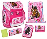 Scooli Schulranzen Set Campus UP, Horse Champion, 6 teilig, 40 cm, 20 L, Pink