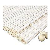 ZEMIN Bambus Rollo Bambusrollo Innen/Außen Installieren Schattierung Erkerfenster Vorhang Anpassbar Handheben, Weiß, 22 Größen
