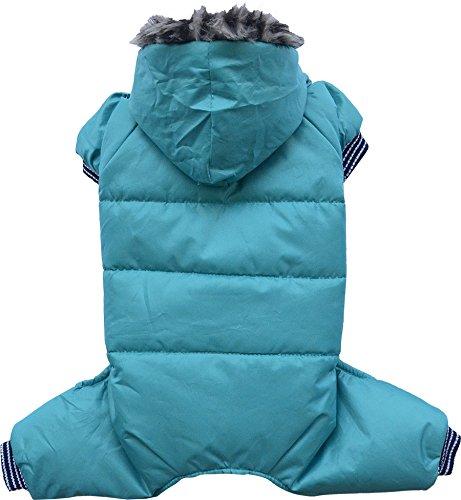 Doggy Dolly W149 Schneeanzug mit Kapuze und Fleece Futter, grün, Outdoor Wintermantel/Winterjacke, Größe : M (Kapuze Mit Gefüttert Befestigt)