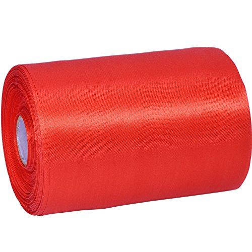 Breites Satinband, einfarbig rot, einseitiges Band für kreative Projekte, 20 m, von Outus -