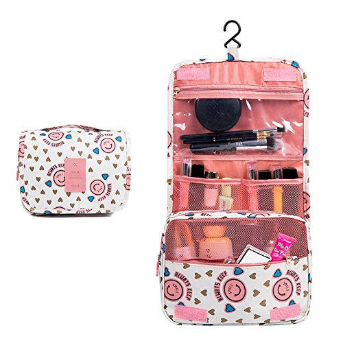 Freesoar Portable Hang Reise-Kulturbeutel Organisieren Kosmetik Frauen Make-up Outdoor-Kit mit Hängen Haken (Rosa) (Mini Vera Bradley)
