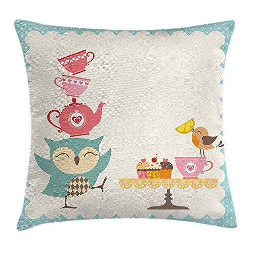 Owl Throw Pillow Cushion Cover, Owl at a Tea Party Bird Lemon Cupcakes Teacups Vintage Design Border Art Print, Decorative Square Accent Pillow Case, 18 X 18 inches, White Blue Pink Silk Border Print Dress