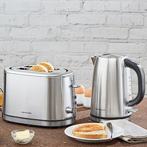 Andrew James Argentum Toaster & Kettle Set in Silver Stainless Steel – 2 Slice Toaster with 6 Heat levels & Warming Rack & Fast Boil 3000W Cordless Jug Kettle with Blue LED Lights Swivel Base & Boil Dry Protection