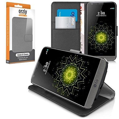 Orzly® - Multi-Functional Wallet Stand Case para LG G5 SmartPhone (2016 Modelo Teléfono Móvil) - FUNDA con PORTFOLIO más SOPORTE INTEGRADO y Tapa magnética - NEGRO