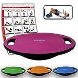 POWRX Balance Board inkl. Workout I Wackelbrett Ø 40cm mit Griffen I Therapiekreisel für propriozeptives Training und Physiotherapie Pink