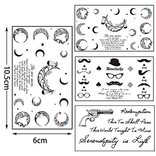 Jiang breeze autoadesivo creativo del tatuaggio di modo - kit di adesivi per tatuaggi temporanei da 30 fogli uomini donne sexy inglese alfabeto inglese tatuaggio adesivo realistico impermeabile