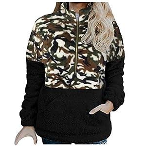 Damen Reißverschluss Kapuzenpulli Mantel Winter Warme Wolltaschen Mantel Outwear, Frauen mit Kapuze Fuzzy Sherpa…