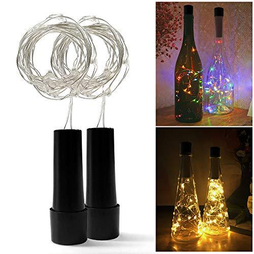 2 Stück RGBW LED Flasche Lichterkett, USB Powered Akku, 1.5 m 15 LEDs, Kupfer Draht String Sternenhimmel LED Lichter für Startseite Küche, Hochzeit, Halloween, Weihnachten, Partei Decor