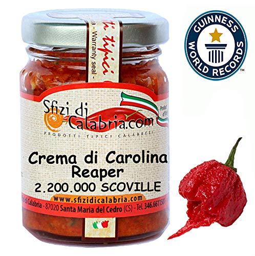 Crema di Peperoncino Carolina Reaper HP22B 90gr Estremo da Guinness Il più piccante al mondo oltre 2 milioni di scoville