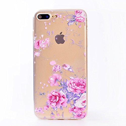 iPhone 7 Plus Coque, Voguecase TPU avec Absorption de Choc, Etui Silicone Souple, Légère / Ajustement Parfait Coque Shell Housse Cover pour Apple iPhone 7 Plus 5.5 (étoiles coloré)+ Gratuit stylet l'é Pink Rose 05
