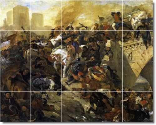 EUGENE DELACROIX BAñO HISTORICA AZULEJOS MURAL 15  17X 21 2CM CON (20) 4 25X 4 25AZULEJOS DE CERAMICA